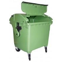 Container 1100 l capac semirotund, capac in capac, negru