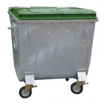 Container metalic cu capac plat 1100 litri