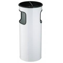Cos gunoi metalic cu scrumiera pentru exterior alb 50l