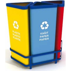 Cosuri reciclare selectiva cu suport metalic 3 x 25 litri