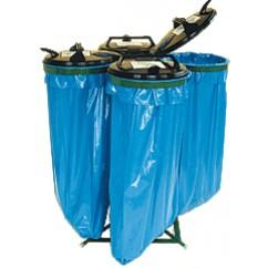 Suport saci menajeri 4 x 120 litri, cu capac, metalic, fix