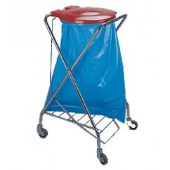 Suport saci menajeri cu pedala 120 litri, mobil, cromat